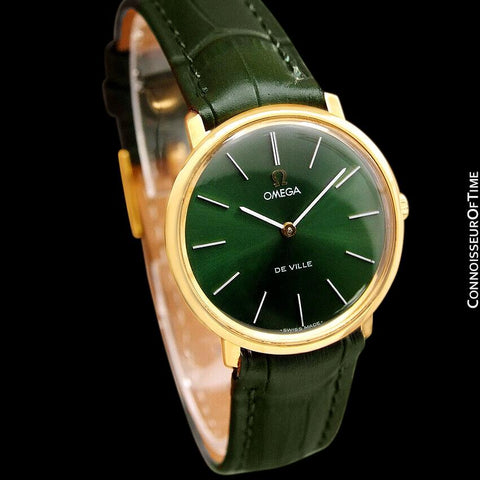 1970 Omega De Ville Mens Midsize Ultra Thin Dress Watch with Forest Green / Money Green Dial - 18K Gold Plated and Stainless Steel
