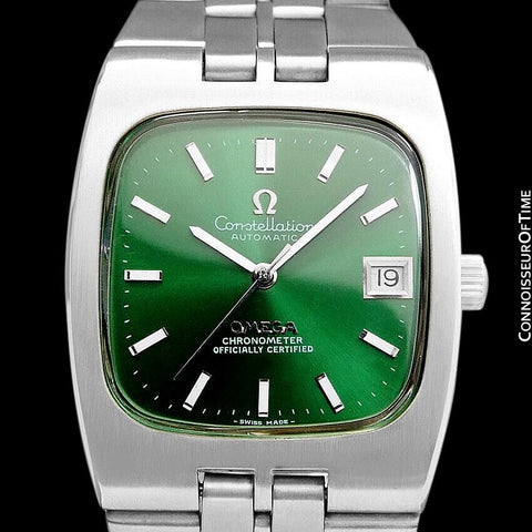 c. 1968 Omega Constellation Mens Automatic Chronometer Watch with Emerald Green Dial - Stainless Steel