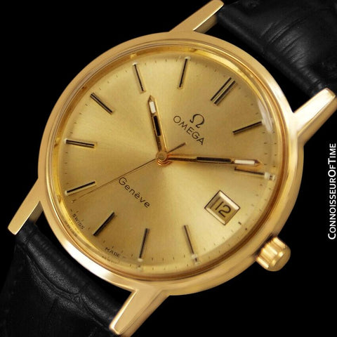 1975 Omega Geneve Vintage Mens Waterproof Style Watch - 18K Gold Plated & Stainless Steel