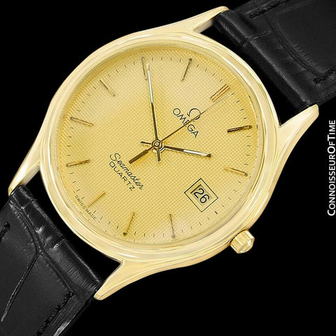 1984 Omega Seamastr Brest Vintage Mens Quartz Watch - 18K Gold Plated & Stainless Steel