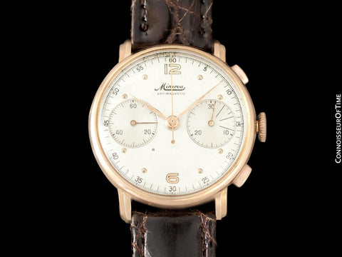 1940's Minerva Vintage Mens 13-20 Chronograph Watch with Special Lugs - 18K Rose Gold