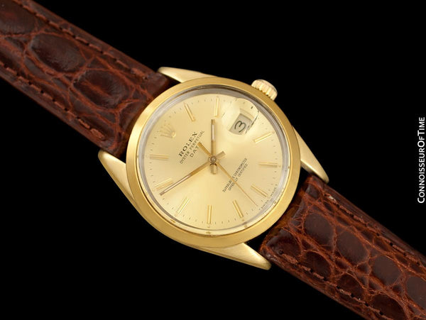 1984 Rolex Oyster Perpetual Date Ref. 15505 Mens Quick-Setting Gold Shell Watch - 14K Gold & Stainless Steel