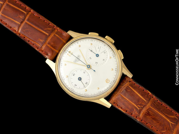 1950's Heuer Vintage Valjoux 23 Chronograph Mens Watch - 18K Gold