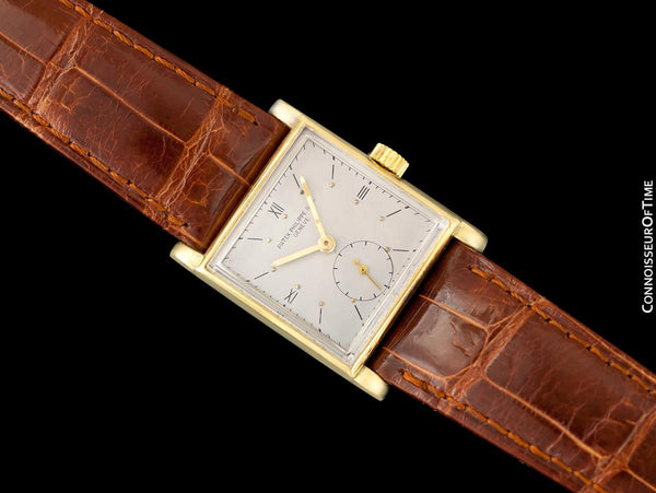 1943 Patek Philippe Vintage Mens Handwound Square Watch, Ref. 1453 - 18K Gold with Papers