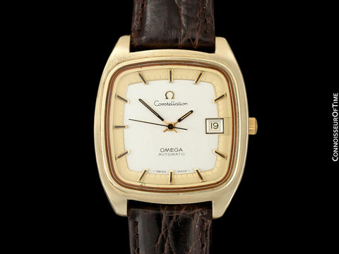1975 Omega Constellation Large Vintage Mens Watch, Uncommon Model - 18K Gold Plated & Stainless Steel