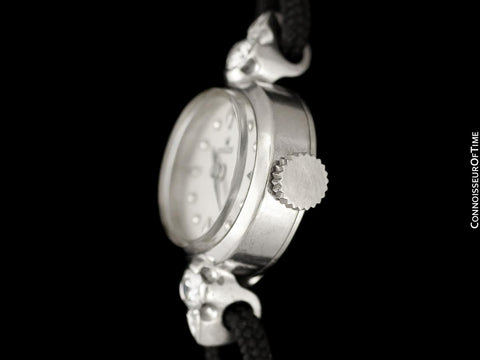 1955 Rolex Vintage Ladies Dress Watch, Silver Dial - 14K White Gold & Diamonds