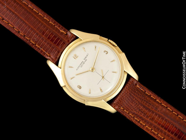 "1950 Audemars Piguet ""Batman"" Lugs Vintage Mens Midsize Dress Watch - 18K Gold"