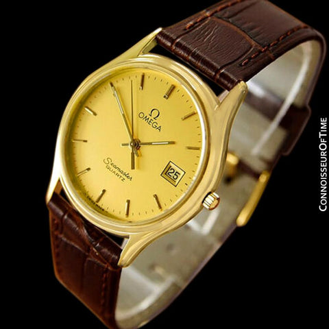 1984 Omega Seamaster Brest Vintage Mens Quartz Watch - 18K Gold Plated & Stainless Steel