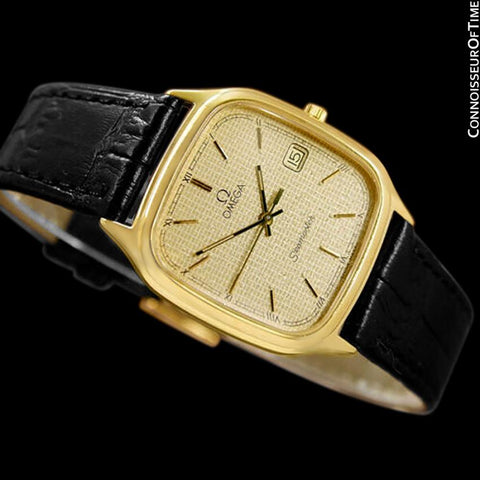 1986 Omega Seamaster Brest Vintage Mens Retro Quartz Watch - 18K Gold Plated & Stainless Steel