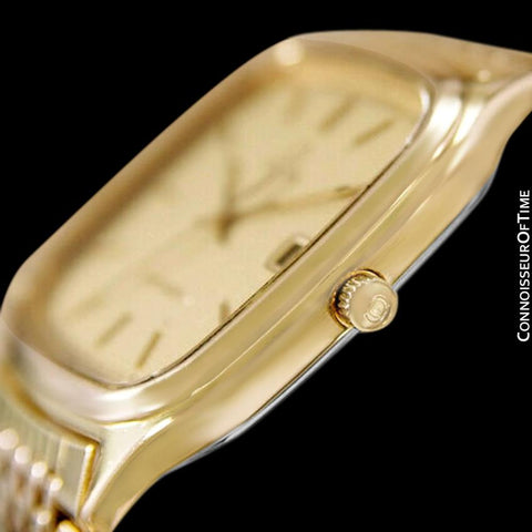 1985 Omega Seamaster Brest Vintage Mens Retro Quartz Watch - 18K Gold Plated & Stainless Steel
