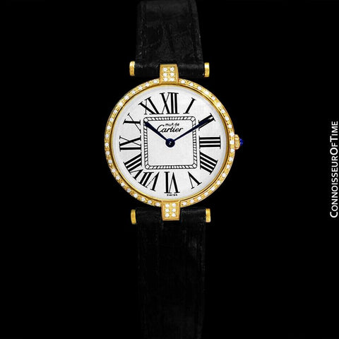 Must De Cartier Vendome Ladies Vermeil Watch - 18K Gold Over Sterling Silver with Diamonds