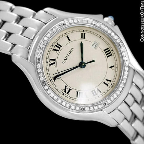 Cartier Cougar Panthere Mens Unisex Bracelet Watch - Stainless Steel & Diamonds