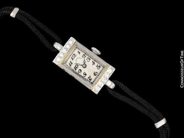 1930's Tiffany & Co. Ladies Art Deco Vintage Watch - Platinum & Diamond