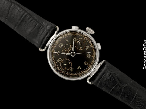 1930's Bovet Mono-Rattrapante Single Split Second Vintage Chronograph - Chrome & Stainless Steel