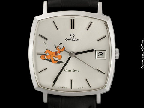 1975 Omega Geneve Vintage Mens Unisex Handwound Dress Watch with Disney's Pluto Dog - Stainless Steel