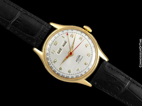 1950's Enicar Vintage Mens  Watch, Day Date Calendar, Gold Plated & Stainless Steel