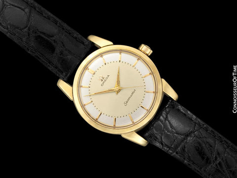 1958 Omega Seamaster Vintage Mens Calatrava Classic Handwound Watch - 14K Gold & Stainless Steel