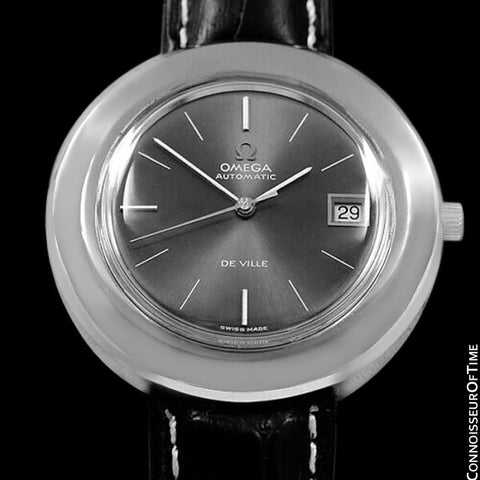 "1970's Omega De Ville Vintage Mens Rare Extra Large 40mm ""Disco Volante"" Watch - Stainless Steel"