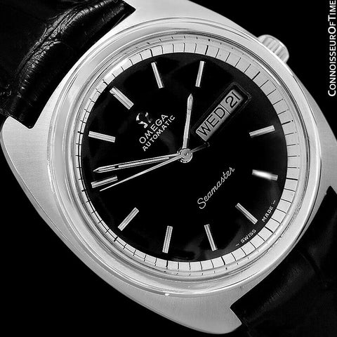 1960's Omega Vintage Mens Seamaster Retro, Day Date, Large 38mm Automatic Watch - Stainless Steel