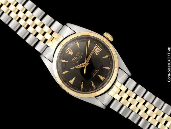 "1953 Rolex Datejust Ovettone Vintage Mens Rare ""Red Letter"" Ref. 6105 Watch - Stainless Steel & 18K Gold"