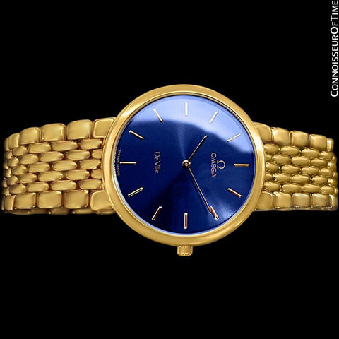Omega De Ville Mens Thin Quartz Dress Watch with Blue Dial - 18K Gold Plated