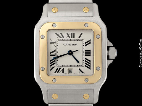 Cartier Santos Galbee Mens Two-Tone Stainless Steel & 18K Gold Bracelet Watch - Papers & Box