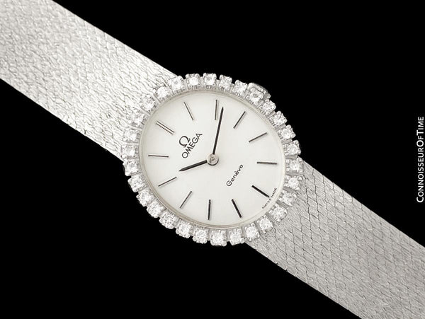 1974 Omega Geneve Vintage Ladies Handwound Watch - Stainless Steel & Diamonds