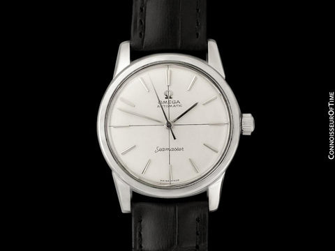1960 Omega Seamaster Mens Vintage Calatrava Automatic Watch with Crosshair Dial - Stainless Steel