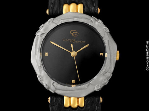 Carrera y Carrera Leopard Mens Midsize / Large Ladies Quartz Watch - Sculptured Titanium & 18K Gold
