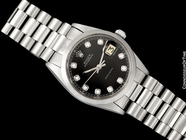 1972 Rolex Oysterdate Mens Date Watch with Both Bracelet & Strap - Stainless Steel & Diamonds