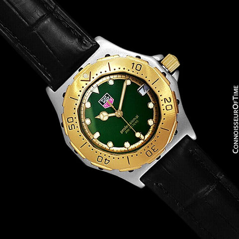 TAG Heuer 3000 Mens Full Size Quartz Divers Green Dial Watch, 934.206 - Stainless Steel & 18K Gold Plated