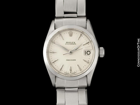 1961 Rolex Vintage Midsize Unisex 30mm Oysterdate Precision Ref. 6466 Date Watch - Stainless Steel