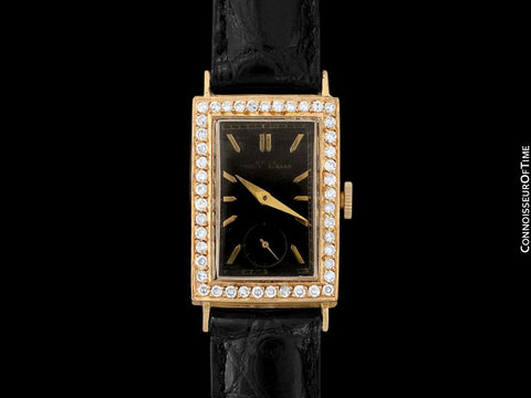 "1938 Rolex Art Deco Mens ""Prince Elegante"" Watch - 14K Gold & Diamonds"