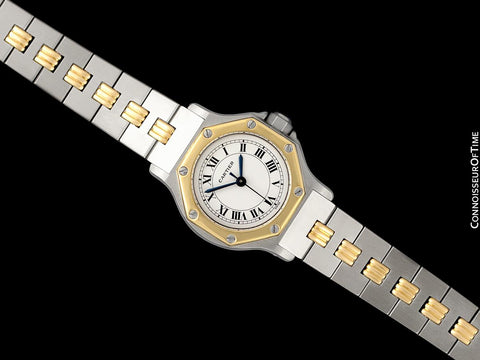 Cartier Santos Octagon Godron Two-Tone Ladies Watch, Automatic - Stainless Steel & 18K Gold