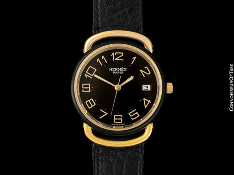 Hermes Mens Midsize Unisex Pullman Like Special Edition Watch - 18K Gold Plated, Stainless Steel & PVD