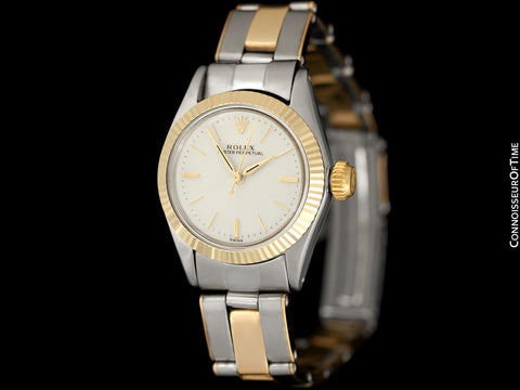 1960 Rolex Oyster Perpetual Ladies Vintage No Date Watch - Stainless Steel & 18K Gold