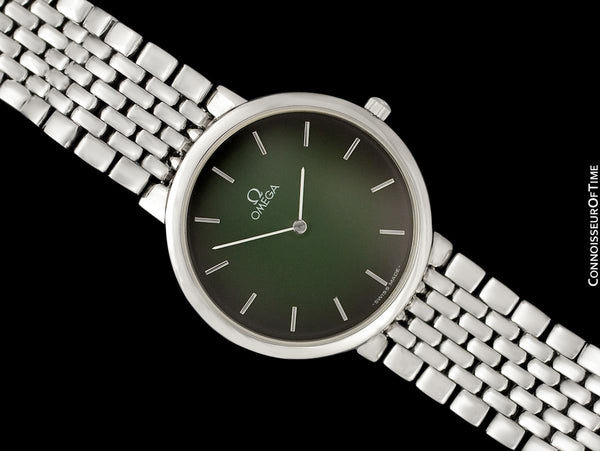 Omega De Ville Mens Thin Quartz Dress Watch with Green Vignette Dial - Stainless Steel