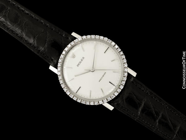 1974 Rolex Precision Vintage Mens Ref. 3411 Dress Watch - Stainless Steel & Diamonds
