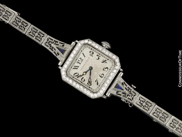 1920's Tiffany & Co. Ladies Vintage Art Nouveau / Art Deco Watch - Platinum & Diamonds