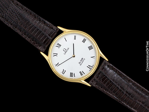 Omega De Ville Vintage Mens Midsize Thin Accuset Dress Watch with White Dial - 18K Gold Plated & Stainless Steel