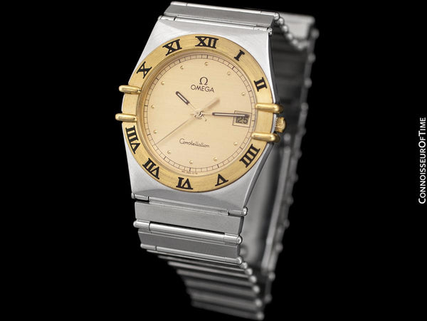 Omega Constellation Manhattan Mens 35mm Watch, Quartz, Date - Brushed Stainless Steel & 18K Gold