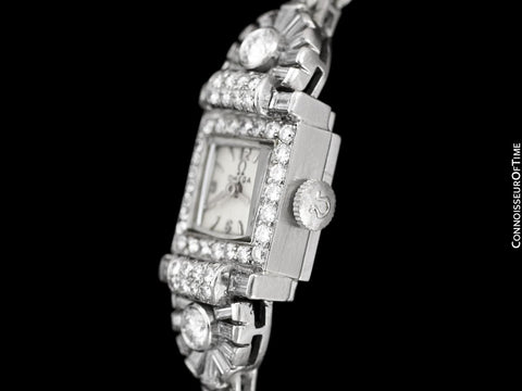 1950's Vintage Ladies Watch with Omega Movement - Platinum over 3.5 Carats of Diamonds