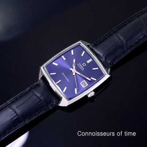 1970's Omega Seamaster Compressor Mens Vintage Watch with Blue Dial,565 Movement, Automatic - Stainless Steel