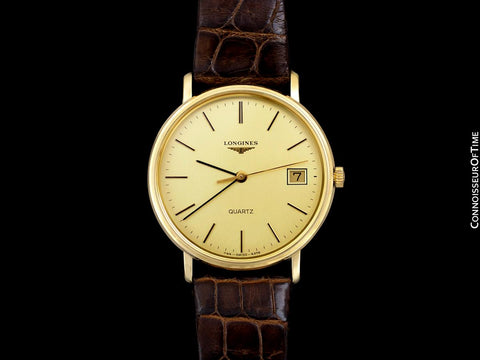Longines Mens Classic Vintage Dress 18K Gold Plated & Stainless Steel Watch - Like New Old Stock