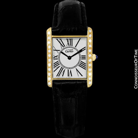 Cartier Vintage Ladies Tank Quartz Watch - Gold Vermeil, 18K Gold over Sterling Silver & Diamonds