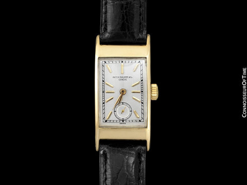 "1937 Patek Philippe ""Tegolino"" Vintage Mens Rectangular Watch - 18K Gold"