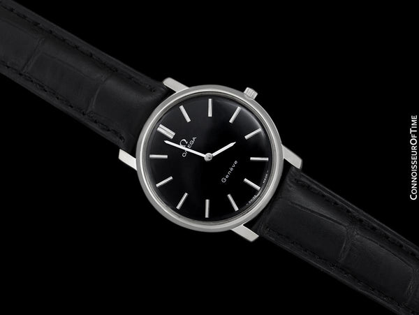 1973 Omega Geneve Vintage Mens Handwound Black Dial Dress Watch - Stainless Steel