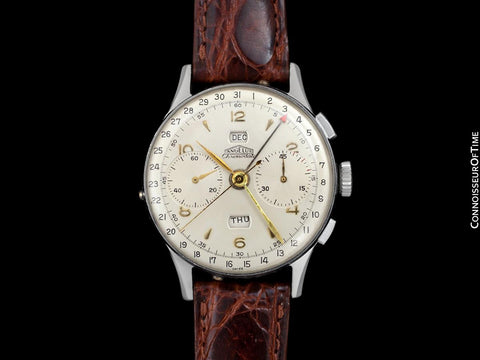 1940's Angelus Vintage Large Mens Triple Calendar Chronograph, Stainless Steel - The Chronodato