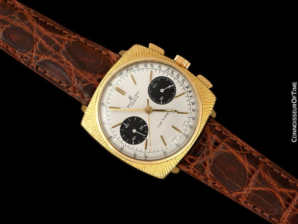 c. 1970 Breitling Top Time Vintage Large Pilots Panda Dial Chronograph - 14K Gold Filled & Stainless Steel