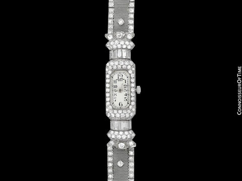 1930's Vintage Ladies 6 Carat Diamond Watch with Patek Philippe Movement - Platinum
